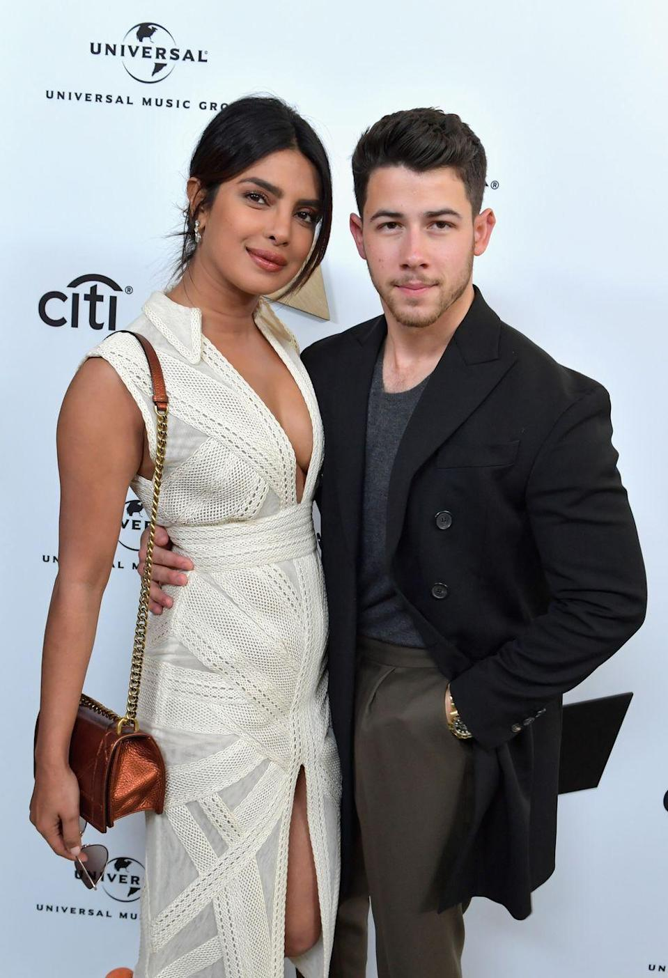 <p>Priyanka Chopra and Nick Jonas attend Sir Lucian Grainge's 2019 Artist Showcase Presented by Citi at The Row on February 9, 2019 in Los Angeles. </p>