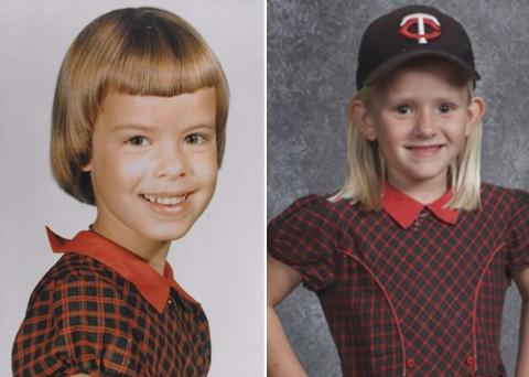 Right, Diana Orr was 5 years old when she became the first member of the Parker family to wear the dress. Left, 6-year-old Aubrey Brandt poses in the same red dress worn for school photos by girls in her family since 1965. (Photo Courtesy of KARE 11/Parker family/Lifetouch)