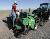 Tim Black loads grass seed into a drill on his tractor before sowing the seed on his Muleshoe, Texas, farm on Monday, April 19, 2021. The longtime corn farmer now raises cattle and plants some of his pasture in wheat and native grasses because the Ogallala Aquifer, needed to irrigate crops, is drying up. (AP Photo/Mark Rogers)
