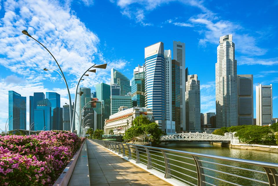 skyline of singapore financial district by the marina bay