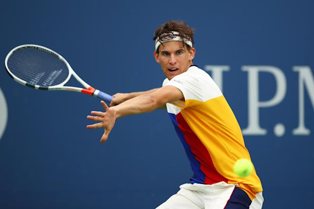 <p>Dominic Thiem of Austria returns a shot to Alex de Minaur of Australia during their first round Men's Singles match on Day Two of the 2017 US Open at the USTA Billie Jean King National Tennis Center on August 29, 2017 in the Flushing neighborhood of the Queens borough of New York City. (Photo by Clive Brunskill/Getty Images) </p>