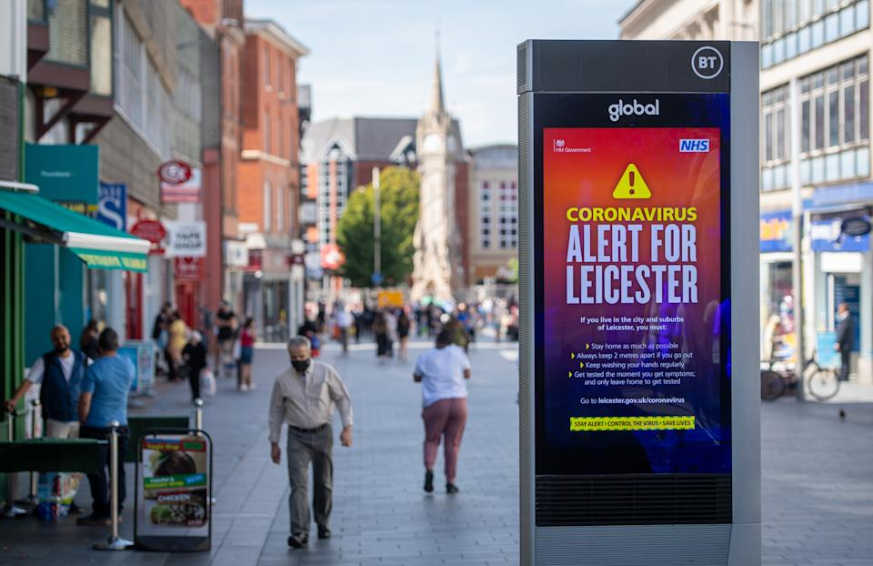 Coronavirus alert messages on a sign in the centre of Leicester, as a decision is due to be made on whether to lift the lockdown restrictions in the city. (Photo by Joe Giddens/PA Images via Getty Images)