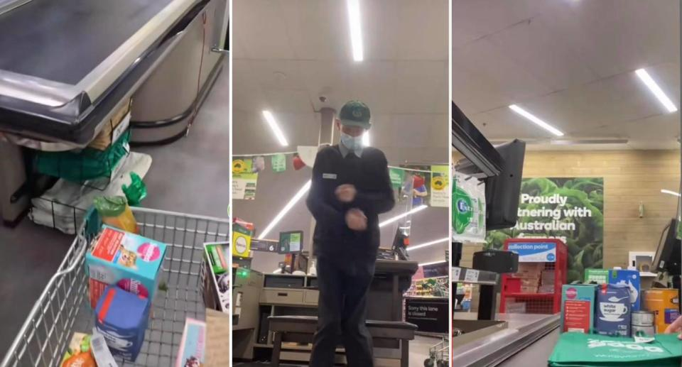 Screenshots of Woolworths staffer Liam's checkout hack video. Source: TikTok/@Woolworths_au