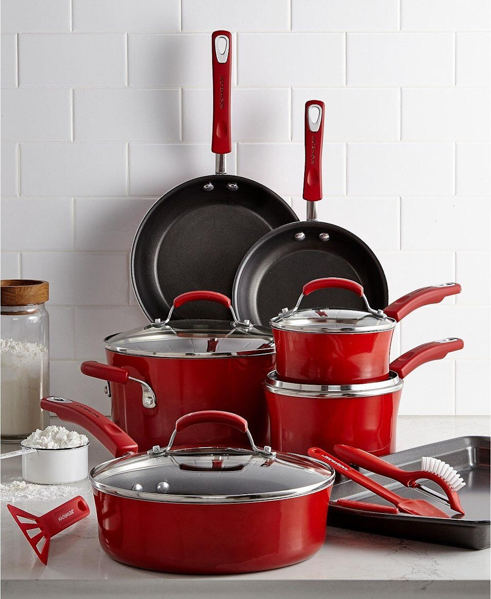 """You can count on thisRachael Ray cookware set to do just about anything. It includes different sauce pans, asauté pan and stock pot, skillets and even a cookie sheet. Plus, it's top-rated, too.<a href=""""https://fave.co/2H1ILOh"""" target=""""_blank"""" rel=""""noopener noreferrer"""">Originally $300, get the set now for $120 at Macy's</a>."""