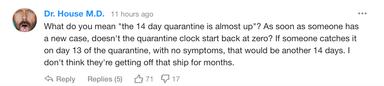 Yahoo readers react to quarantined cruise ship