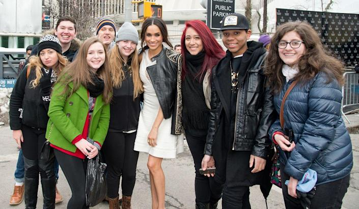 <p>With fans in New York City in 2014. </p>