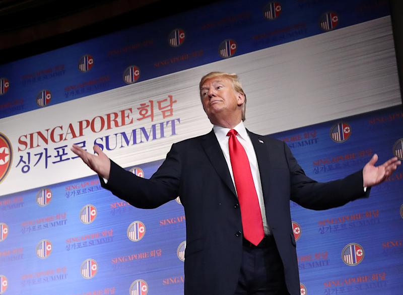 President Donald Trumpspeaks at a news conference after his meeting with Kim Jong Un in Singaporeon Tuesday.