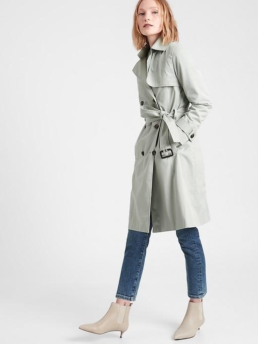 """<p>Sure, there's black and beige but this sage <span>Banana Republic Essential Trench Coat</span> ($206, originally $229) is the <a href=""""https://www.popsugar.com/fashion/color-trends-spring-2021-47822844"""" class=""""link rapid-noclick-resp"""" rel=""""nofollow noopener"""" target=""""_blank"""" data-ylk=""""slk:spring color we're currently craving"""">spring color we're currently craving</a>.</p>"""