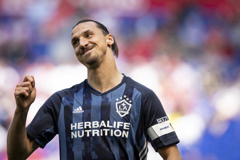 HARRISON, NJ - MAY 04: Zlatan Ibrahimovic #9 of LA Galaxy shows his frustration at a call during the MLS match between LA Galaxy and New York Red Bulls at Red Bull Arena on May 04 2019 in Harrison, NJ, USA. The Red Bulls won the match with a score of 3 to 2. (Photo by Ira L. Black/Corbis via Getty Images)