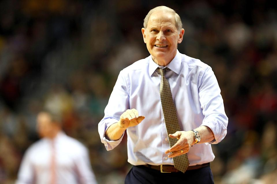 DES MOINES, IOWA - MARCH 23: Head coach John Beilein of the Michigan Wolverines shouts against the Florida Gators during the second half in the second round game of the 2019 NCAA Men's Basketball Tournament at Wells Fargo Arena on March 23, 2019 in Des Moines, Iowa. (Photo by Jamie Squire/Getty Images)