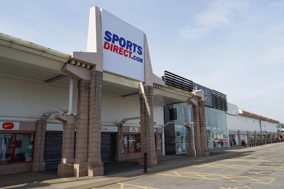 MIDDLESBROUGH, UNITED KINGDOM - MARCH 24: A Sports Direct store at Teesside Park remains closed as the UK adjusts to life under the Coronavirus pandemic on March 24, 2020 in Middlesbrough, United Kingdom. Mike Ashley's Sports Direct has bowed to pressure from the government and the public by closing all of its stores after widespread anger that he intended to flout the UK lockdown by remaining open. Coronavirus (COVID-19) has spread to at least 196 countries, claiming over 17,000 lives and infecting more than 390,000 people. There have now been 6,650 diagnosed cases in the UK and 335 deaths. (Photo by Ian Forsyth/Getty Images)