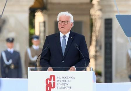 German President Frank-Walter Steinmeier takes part in a ceremony to mark the anniversary of the outbreak of World War Two in Warsaw