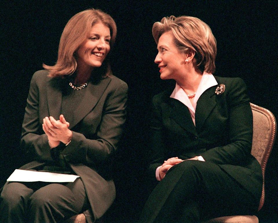 <p>Then US First Lady and New York Democratic senate candidate Hillary Rodham Clinton chats with Caroline at a New York Women for Hillary event. </p>