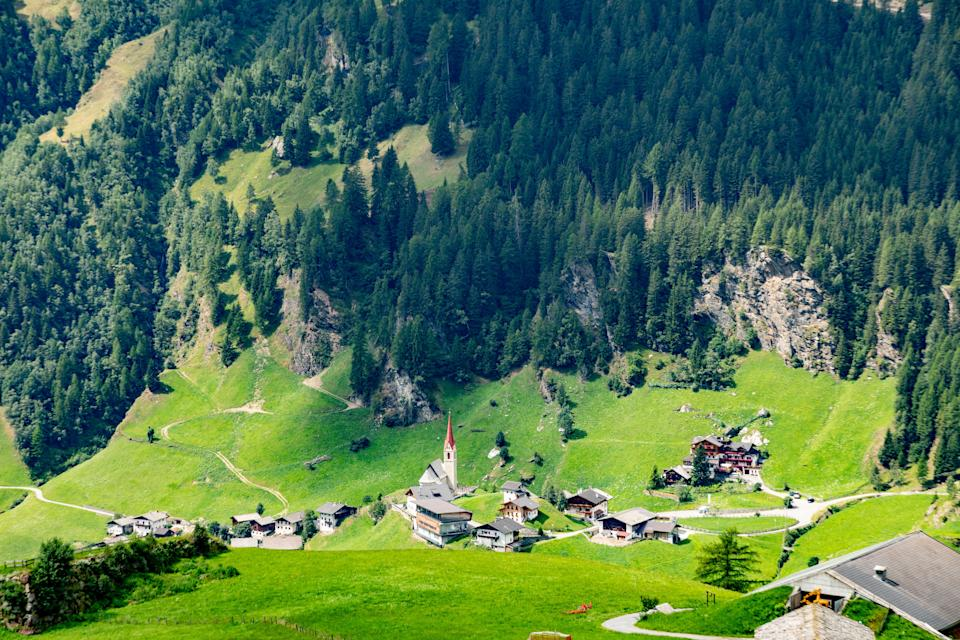 Panoramic view from the Timmelsjoch high alpine road in Texelgruppe to village of Moos in Passeier region,  Oetztal Alps, South Tyrol, Italy (Photo: travelview via Getty Images)
