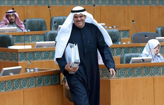 Kuwaiti Minister of Information and Youth Sheikh Salman Humoud Al-Sabah is seen during a session at the national assembly in Kuwait City on January 31, 2017 (AFP Photo/Yasser Al-Zayyat)