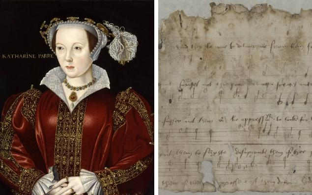 Katharine Parr and a sheet of music by Tallis