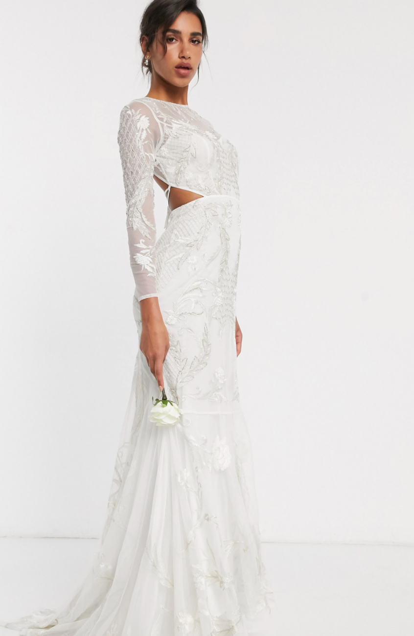 This embroidered & embellished fishtail wedding dress retails for $390. Photo: ASOS