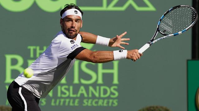 <p>KEY BISCAYNE, Fla. (AP) Fabio Fognini became the first unseeded player in 10 years to reach the men's semifinals at Key Biscayne when he beat 2016 runner-up Kei Nishikori 6-4, 6-2 Wednesday at the Miami Open.</p><p>The 29-year-old Fognini, who matched his best showing in an ATP Masters 1000 event, will next play the winner of Wednesday night's match between Rafael Nadal and Jack Sock.</p><p>Nishikori was seeded No. 2. Fognini improved to 9-44 against top-10 players, and became the first Italian man to reach a semifinal at Key Biscayne.</p><p>No. 10 Johanna Konta became the first British woman to reach a semifinal in the tournament by beating No. 3 Simona Halep 3-6, 7-6 (7), 6-2.</p>