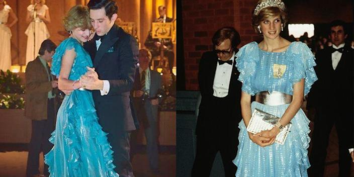 <p><em>The Crown </em>did a phenomenal job making Princess Diana's iconic teal ruffled ball gown — from the lamé details to the wide silver belt. Except the Princess wore the daring frock during a state visit in Canada, not in Australia as the show suggests.</p>