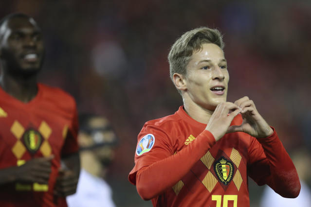 Belgium's Yari Verschaeren jubilates after scoring his sides eighth goal on a penalty during the Euro 2020 group I qualifying soccer match between Belgium and San Marino at the King Baudouin Stadium in Brussels, Thursday, Oct. 10, 2019. (AP Photo/Francisco Seco)