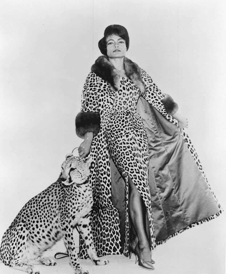 <p>Kitt commands the camera's eye in a full leopard dress and coat—and tops it off by posing with the real deal for the photo shoot. </p>