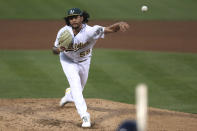 Oakland Athletics' Sean Manaea throws to a Tampa Bay Rays batter during the fifth inning of a baseball game in Oakland, Calif., Friday, May 7, 2021. (AP Photo/Jed Jacobsohn)