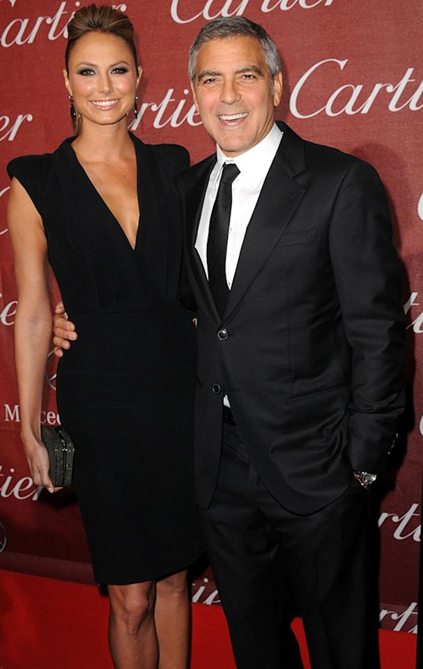 """<a href=""""http://movies.yahoo.com/movie/contributor/1808539914"""">Stacy Keibler</a> and <a href=""""http://movies.yahoo.com/movie/contributor/1800019715"""">George Clooney</a> attend the 23rd Annual Palm Springs Film Festival awards gala on January 7,2012."""