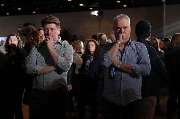 PHOTO: Supporters of Democratic presidential candidate former Vice President Joe Biden watch television results at his rally in Des Moines, Iowa, U.S., February 3, 2020. REUTERS/Ivan Alvarado (Ivan Alvarado/Reuters)