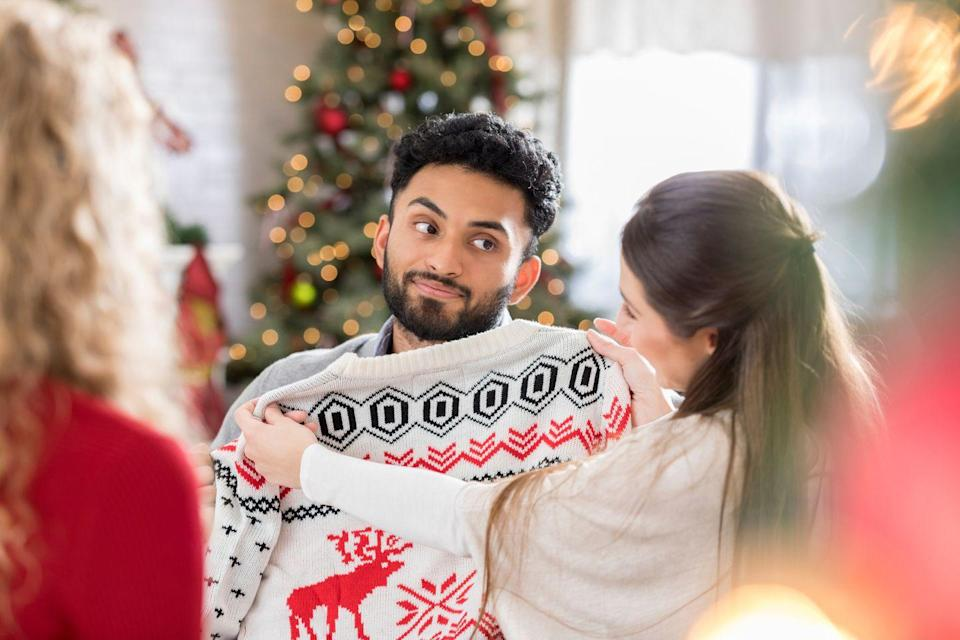 """<p>A sweater that isn't your style, doesn't fit, and is so coarse even the moths don't want anything to do with it is """"the best gift ever""""? It must be one of those Christmas miracles you hear about.</p>"""
