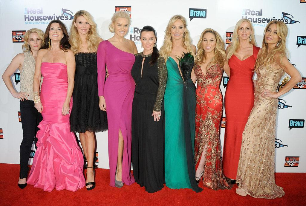 "The cast of ""The Real Housewives Of Beverly Hills"" arrives at the Season 3 premiere party at the Hollywood Roosevelt Hotel on October 21, 2012 in Hollywood, California."