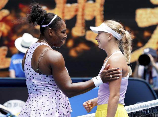 United States' Serena Williams, left, is congratulated by Russia's Anastasia Potapova after winning their first round singles match at the Australian Open tennis championship in Melbourne, Australia, Monday, Jan. 20, 2020. (AP Photo/Lee Jin-man)