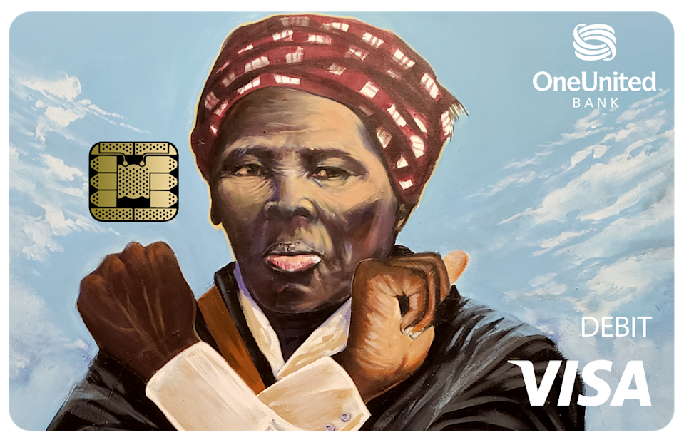 Harriet Tubman is featured on a OneUnited Bank debit card.