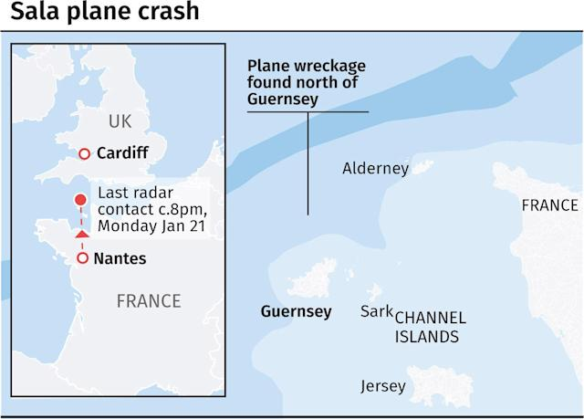 Sala was on his way to Cardiff from France when tragedy struck. (PA Graphics)