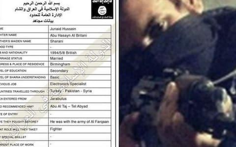 "Isil ""entry file"" of Junaid Hussain shows he crossed into Syria in July 2013Credit: None"