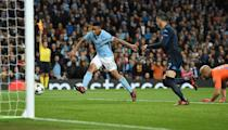 Manchester City's Gabriel Jesus shoots to score but is ruled offside during their UEFA Champions League Group F first leg match against Napoli, at the Etihad Stadium in Manchester, on October 17, 2017 (AFP Photo/Oli SCARFF )