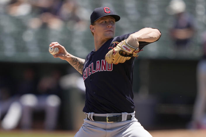 Cleveland Indians starting pitcher Zach Plesac works against the Oakland Athletics during the first inning of a baseball game Sunday, July 18, 2021, in Oakland, Calif. (AP Photo/Tony Avelar)