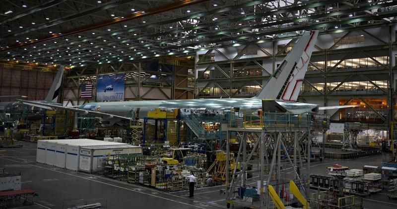 A Boeing 777 sits on the assembly line at the company's operations in Everett