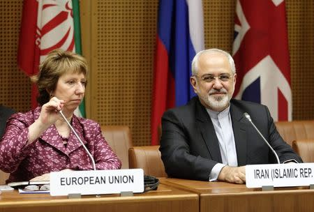 EU Foreign Policy Chief Ashton and Iranian Foreign Minister Zarif wait to begin talks in Vienna
