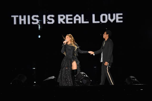 "Beyonc <span>é</span> and Jay-Z hold hands ending their performance onstage during the ""On the Run II Tour"" at Hampden Park on June 9, 2018, in Glasgow, Scotland. (Photo: Kevin Mazur/Getty Images for Parkwood Entertainment)"