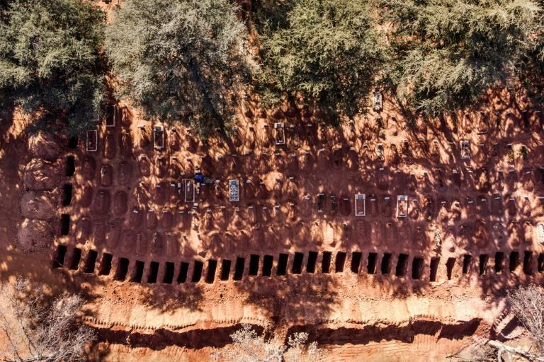 A row of freshly dug graves at a cemetery in Johannesburg, South Africa