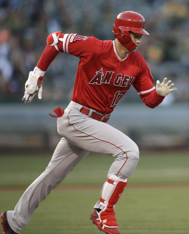 Los Angeles Angels' Shohei Ohtani runs on a ground out in the first inning of a baseball game against the Oakland Athletics, Tuesday, May 28, 2019, in Oakland, Calif. (AP Photo/Ben Margot)