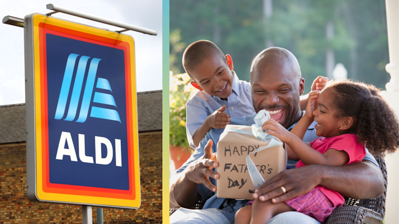 Pictured: Aldi logo, Father opening present on Father's Day. Images: Getty