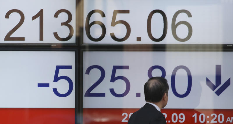 The Latest: European shares open lower after US-led slide