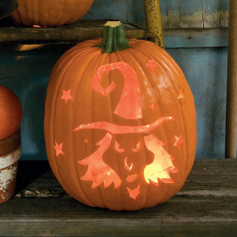 "<p>With this pumpkin, you'll want to start by carving out the witch first and then moving on to the stars.</p><p><em><strong><a href=""https://www.womansday.com/home/crafts-projects/a28638191/a-little-black-magic-pumpkin/"" rel=""nofollow noopener"" target=""_blank"" data-ylk=""slk:Get the A Little Black Magic tutorial."" class=""link rapid-noclick-resp"">Get the A Little Black Magic tutorial.</a></strong></em></p>"