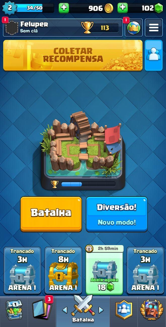 Página inicial do Clash Royale - (Captura: Canaltech/Felipe Freitas)