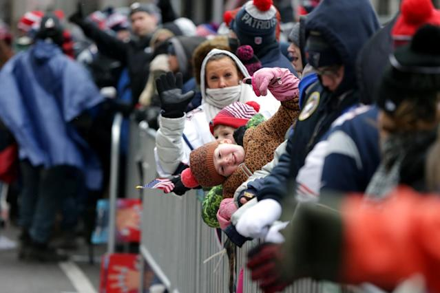 <p>New England Patriots fans get their early spots on Tremont Street before the start of the New England Patriots Super Bowl LI Victory Parade in Boston on Feb. 7, 2017. (Photo by Jonathan Wiggs/The Boston Globe via Getty Images) </p>