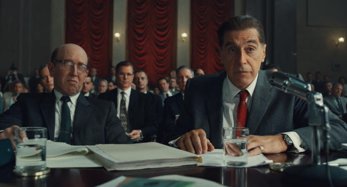 """This image released by Netflix shows Al Pacino, right, in a scene from """"The Irishman."""" (Niko Tavernise/Netflix via AP)"""