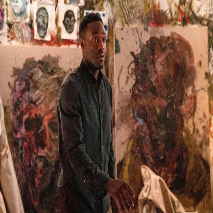 still image from the movie candyman where anthony looks concerned while in a room with his paintings
