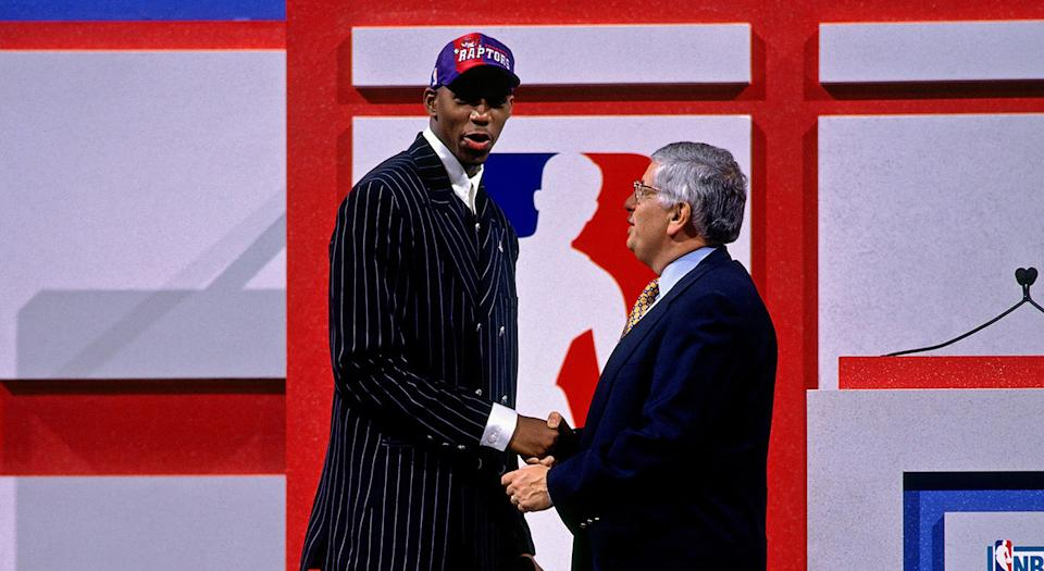 Tracy McGrady was taken ninth overall by the Raptors in the 1997 NBA Draft. (Photo by Nathaniel S. Butler/NBAE via Getty Images)