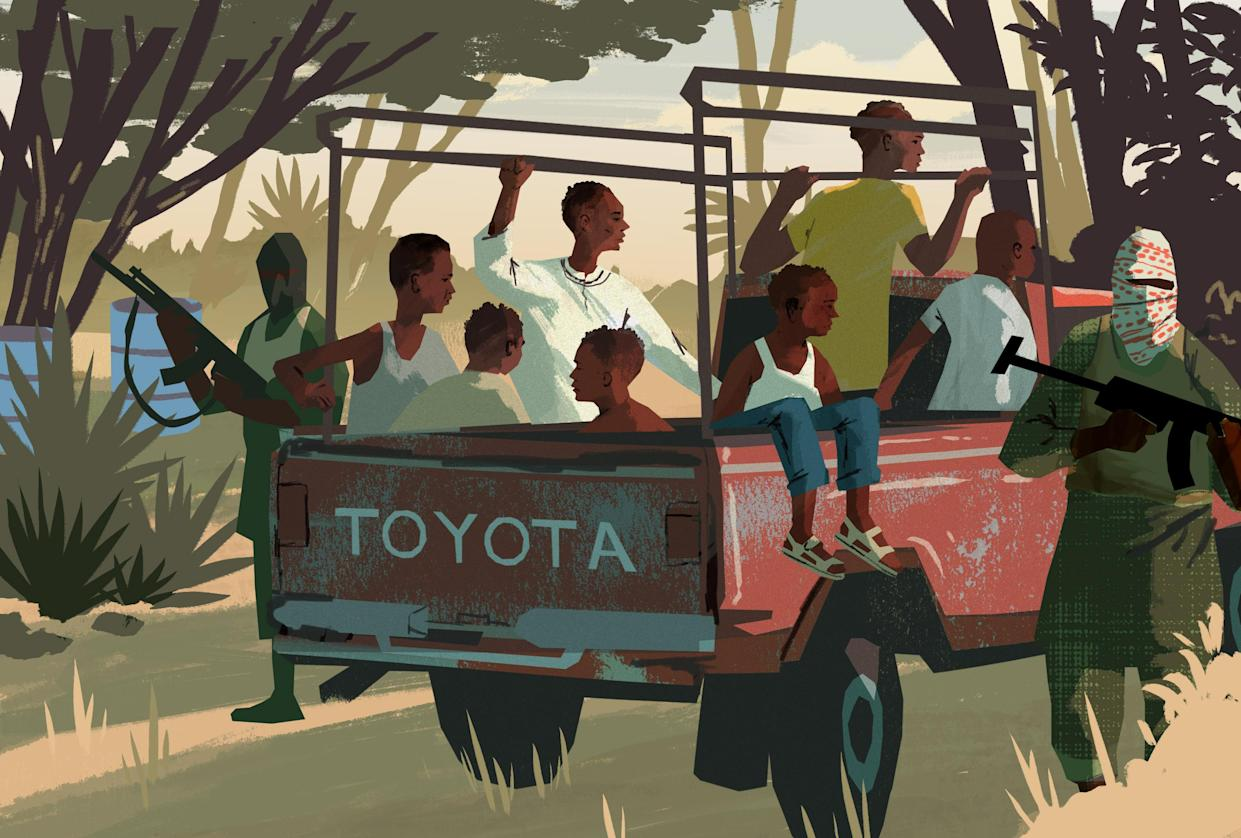 Abdi and six other boys were taken by pickup truck to an al-Shabab camp. (Illustration by Noah MacMillan for Yahoo News)